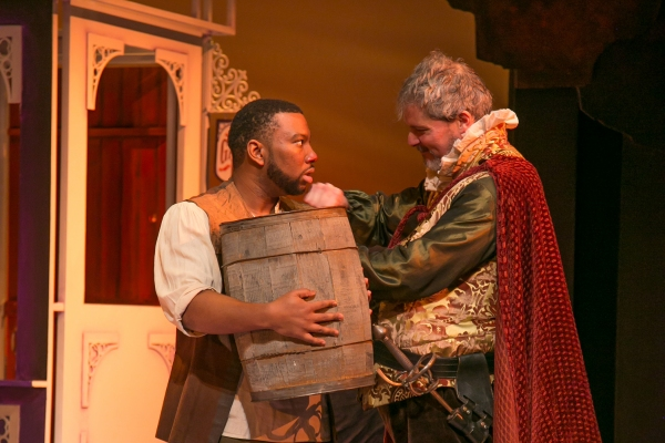 Bardolph (Javon Johnson) is given a new trade as a tapster by Sir John Falstaff (David Andrew Macdonald)