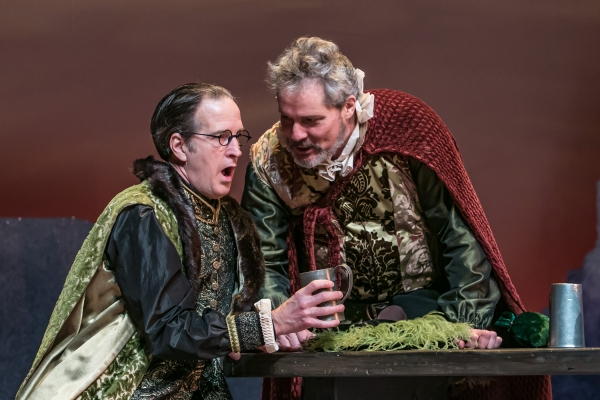 Frank Ford (Matt Sullivan) dons a disguise to get Sir John Falstaff (David Andrew Macdonald) to reveal his intentions