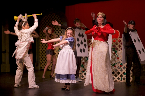 Susan Abrams (back to us) as The White Rabbit, Faith Flanagan, and Missy Hanlon as the Queen of Hearts