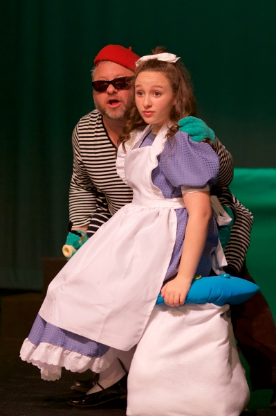 Robin Frome as The Caterpillar and Nicole Kalitsas as Alice