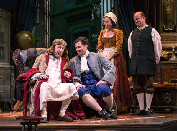 Geronte (Paxton Whitehead) makes plans to draw up his will, to the delight of his ''apparent heir'' Eraste (Nate Burger) and their crafty servants Lisette (Jessie Fisher) and Crispin (Cliff Saunders).
