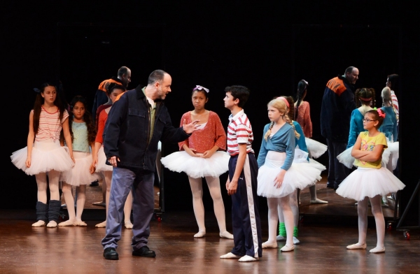 Tension looms between Billy (Nicholas Dantes, center right) and his father (Joe Cassidy, center left) as his father discovers Billy in ballet class. Photo by Alicia Donelan.
