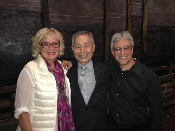 Christine Ebersole congratulates George Takei and conductor Jeff Saver Photo