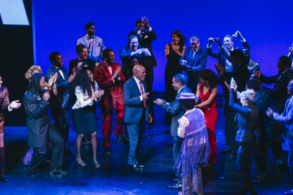Berry Gordy and the cast of MOTOWN THE MUSICAL during curtain call