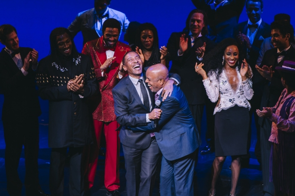 Charles Randpolph-Wright and Berry Gordy (center) with the cast of MOTOWN THE MUSICAL during curtain call