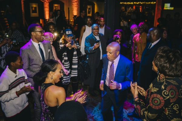 Berry Gordy dancing with the of MOTOWN THE MUSICAL