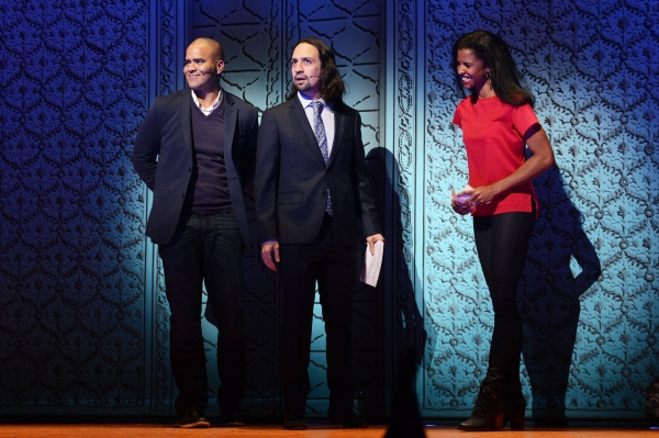 HAMILTON stars Christopher Jackson, Lin-Manuel Miranda and Renee Elise Goldsberry