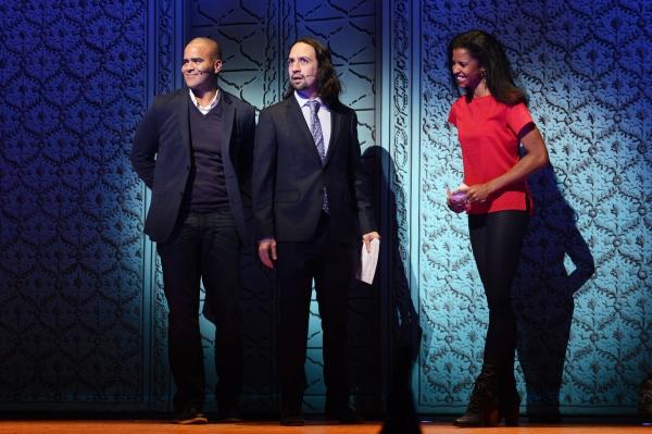 HAMILTON stars Christopher Jackson, Lin-Manuel Miranda and Renee Elise Goldsberry