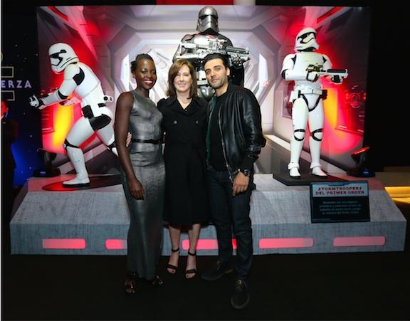 Oscar Isaac, Lupita Nyong'o and Kathleen Kennedy