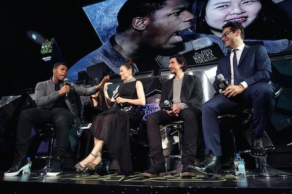 J.J. Abrams and stars Daisy Ridley, John Boyega and Adam Driver