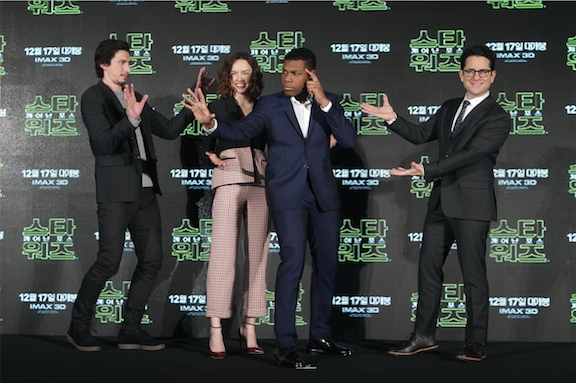 J.J. Abrams and stars Daisy Ridley, John Boyega and Adam Driver