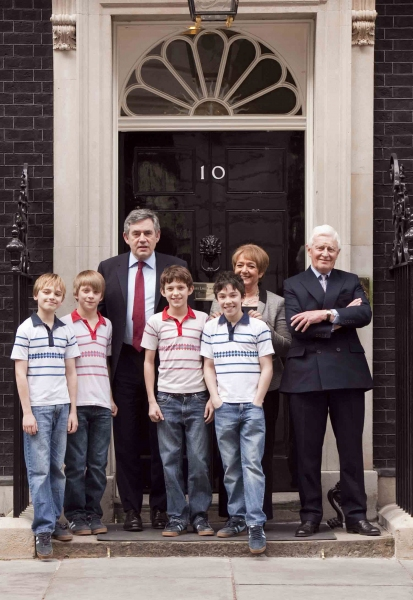 2010 - Dean-Charles Chapman, Ollie Gardner, Gordon Brown, Tom Holland, Fox Jackson-Keen, Margaret Hodge, Alan Grieve; Photo by Piers MacDonald