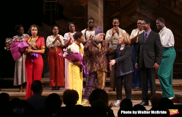 Jennifer Hudson, Cynthia Erivo, Allee Willis, Marsha Norman, Stephen Bray with cast