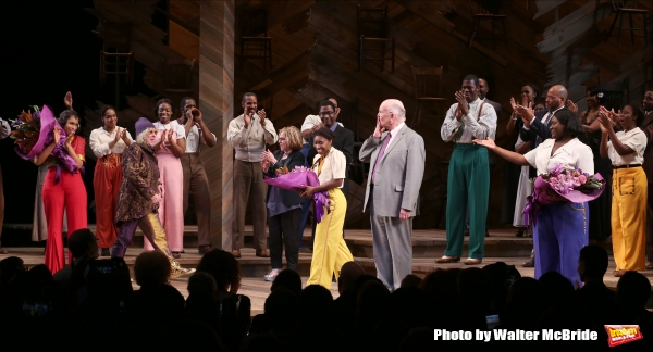 Jennifer Hudson, Cynthia Erivo, Allee Willis, Marsha Norman, John Doyle, Danielle Brooks with cast