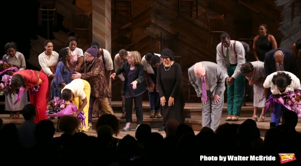 Jennifer Hudson, Cynthia Erivo, Brenda Russell, Allee Willis, Marsha Norman, Alice Walker, John Doyle and Danielle Brooks with cast