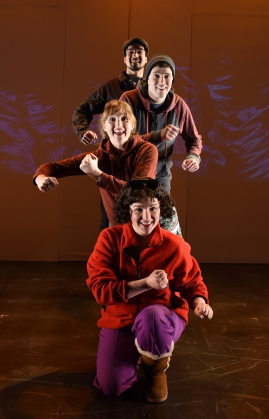 (top to bottom) Alan Brincks (as Father), Sean Bradley (as Hansel), Clare O''Malley (as Gretel), Faith Fossett (as Stepmother)