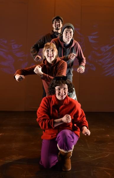 (top to bottom) Alan Brincks (as Father), Sean Bradley (as Hansel), Clare O''Malley (as Gretel), Faith Fossett (as Stepmother)
