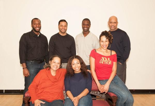 Front: Lynda Gravatt, Nikiya Mathis, Dominique Morisseau; Back: Wendell B. Franklin, Jason Dirden, Adesola Osakalumi, Ruben Santiago-Hudson