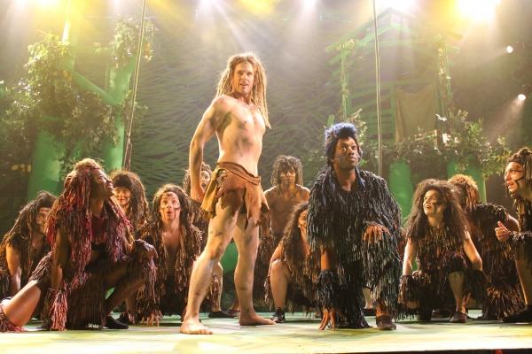 Jennifer Theriot (Kala), Chris Stevens (Tarzan), Cartreze Tucker (Terk) and the ensemble