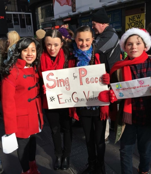 Photos: Broadway Kids Sing for Peace in Times Square