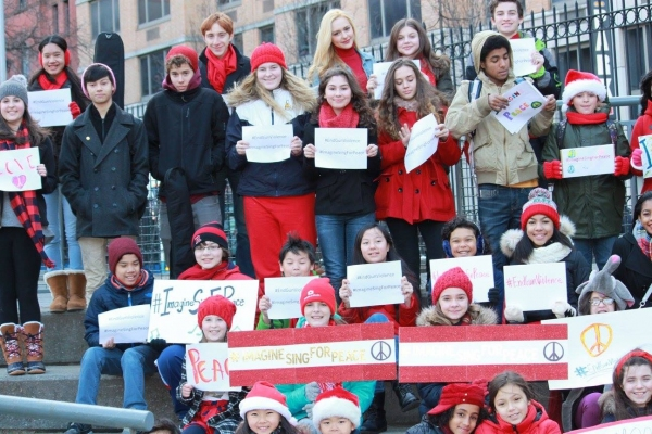 Photo Flash: Broadway Kids Sing for Peace in Times Square