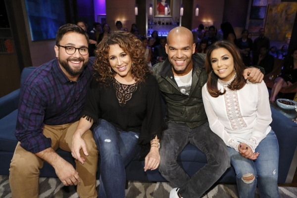 HOLLYWOOD GAME NIGHT -- Episode 404 -- Pictured: (l-r) Contestant, Diana Maria Riva, Amaury Nolasco, Eva Longoria -- (Photo by: Trae Patton/NBC)