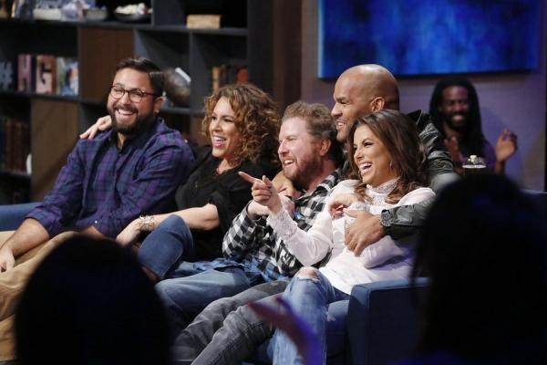 HOLLYWOOD GAME NIGHT -- Episode 404 -- Pictured: (l-r) Contestant, Diana Maria Riva, Nick Swardson, Amaury Nolasco, Eva Longoria -- (Photo by: Trae Patton/NBC)