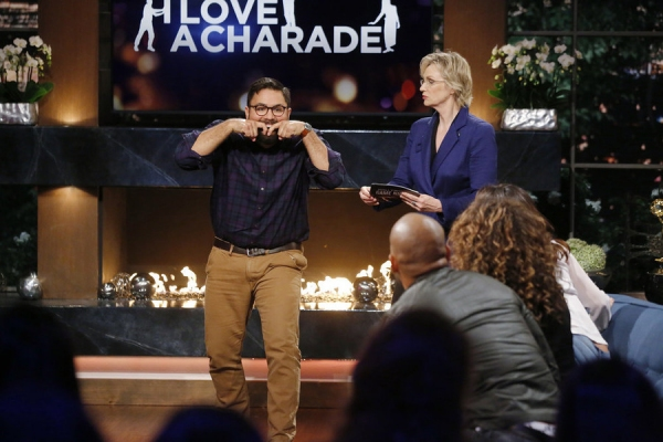 HOLLYWOOD GAME NIGHT -- Episode 404 -- Pictured: (l-r) Contestant, Jane Lynch -- (Photo by: Trae Patton/NBC)