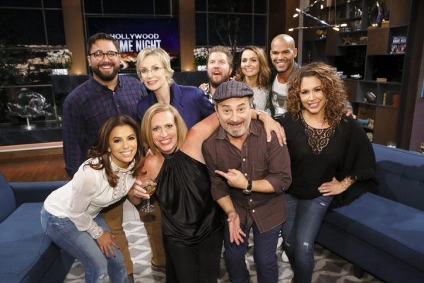 HOLLYWOOD GAME NIGHT -- Episode 404 -- Pictured: (l-r) Back Row: Contestant, Jane Lynch, Nick Swardson, Camilla Luddington, Amaury Nolasco, Bottom Row: Eva Longoria, Contestant, Kevin Pollak, Diana Maria Riva -- (Photo by: Trae Patton/NBC)