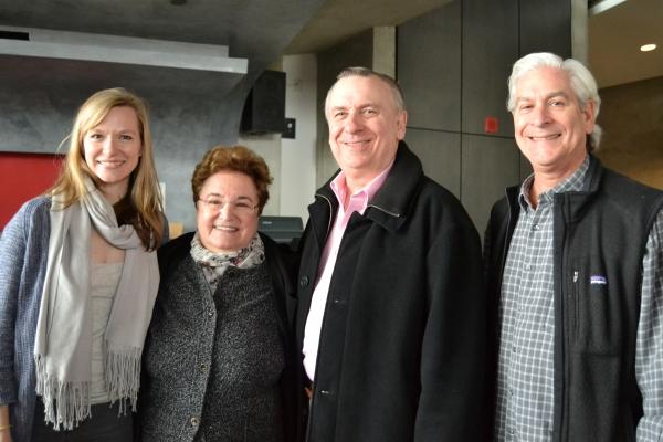 Caroline Hewitt (Anna Fitzgerald) with Ellen Berelson and board members Larry Franks and David Shiffrin
