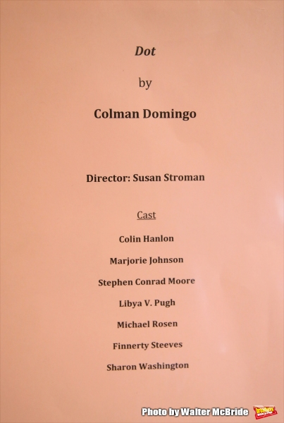 Cast Board for the first day of rehearsals for the cast and creatives of the Vineyard Theatre''s production of ''Dot''  at Snapple Center on January 1, 2016 in New York City.