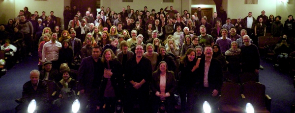 The audience after 39 STEPS'' final performance off-Broadway. Photo by Robert Petkoff.