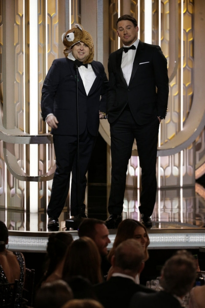 73rd ANNUAL GOLDEN GLOBE AWARDS -- Pictured: Jonah Hill, Channing Tatum, Presenters at the 73rd Annual Golden Globe Awards held at the Beverly Hilton Hotel on January 10, 2016 -- (Photo by: Paul Drinkwater/NBC)