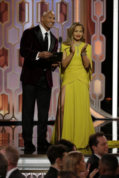 73rd ANNUAL GOLDEN GLOBE AWARDS -- Pictured: (l-r) Dwayne Johnson, Jennifer Lopez, Presenters at the 73rd Annual Golden Globe Awards held at the Beverly Hilton Hotel on January 10, 2016 -- (Photo by: Paul Drinkwater/NBC)