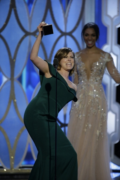 73rd ANNUAL GOLDEN GLOBE AWARDS -- Pictured:  Rachel Bloom, ''Crazy Ex-Girlfriend'', Winner, Best Actress - TV Series, Comedy or Musical at the 73rd Annual Golden Globe Awards held at the Beverly Hilton Hotel on January 10, 2016 -- (Photo by: Paul Drinkwa