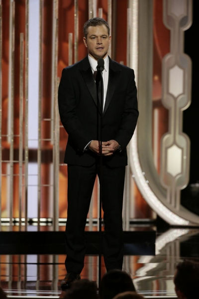73rd ANNUAL GOLDEN GLOBE AWARDS -- Pictured: Matt Damon, Presenter at the 73rd Annual Golden Globe Awards held at the Beverly Hilton Hotel on January 10, 2016 -- (Photo by: Paul Drinkwater/NBC)