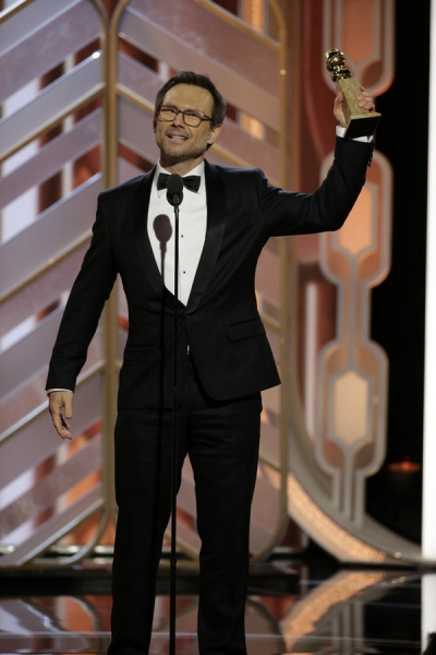 73rd ANNUAL GOLDEN GLOBE AWARDS -- Pictured: Christian Slater, ''Mr. Robot'', Winner, Best Supporting Actor - Series/Limited Series/TV Movie at the 73rd Annual Golden Globe Awards held at the Beverly Hilton Hotel on January 10, 2016 -- (Photo by: Paul Dri