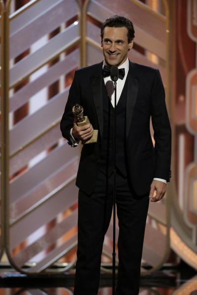 73rd ANNUAL GOLDEN GLOBE AWARDS -- Pictured: Jon Hamm, ''Mad Men'', Winner, Best Actor - TV Series, Drama at the 73rd Annual Golden Globe Awards held at the Beverly Hilton Hotel on January 10, 2016 -- (Photo by: Paul Drinkwater/NBC)