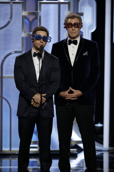 73rd ANNUAL GOLDEN GLOBE AWARDS -- Pictured: (l-r) Mark Wahlberg, Will Ferrell, Presenters at the 73rd Annual Golden Globe Awards held at the Beverly Hilton Hotel on January 10, 2016 -- (Photo by: Paul Drinkwater/NBC)
