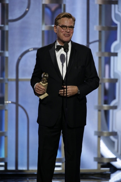 73rd ANNUAL GOLDEN GLOBE AWARDS -- Pictured: Aaron Sorkin, ''Steve Jobs'', Winner, Best Screenplay - Motion Picture at the 73rd Annual Golden Globe Awards held at the Beverly Hilton Hotel on January 10, 2016 -- (Photo by: Paul Drinkwater/NBC)