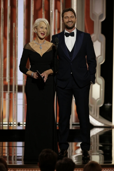 73rd ANNUAL GOLDEN GLOBE AWARDS -- Pictured: (l-r) Helen Mirren, Gerard Butler, Presenters at the 73rd Annual Golden Globe Awards held at the Beverly Hilton Hotel on January 10, 2016 -- (Photo by: Paul Drinkwater/NBC)