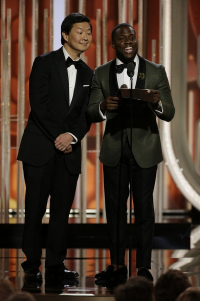 73rd ANNUAL GOLDEN GLOBE AWARDS -- Pictured: (l-r) Ken Jeong, Kevin Hart, Presenters at the 73rd Annual Golden Globe Awards held at the Beverly Hilton Hotel on January 10, 2016 -- (Photo by: Paul Drinkwater/NBC)