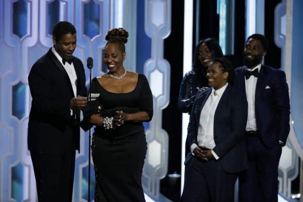 73rd ANNUAL GOLDEN GLOBE AWARDS -- Pictured: Denzel Washington and Family, Winner, Cecil B. Demille Award at the 73rd Annual Golden Globe Awards held at the Beverly Hilton Hotel on January 10, 2016 -- (Photo by: Paul Drinkwater/NBC)