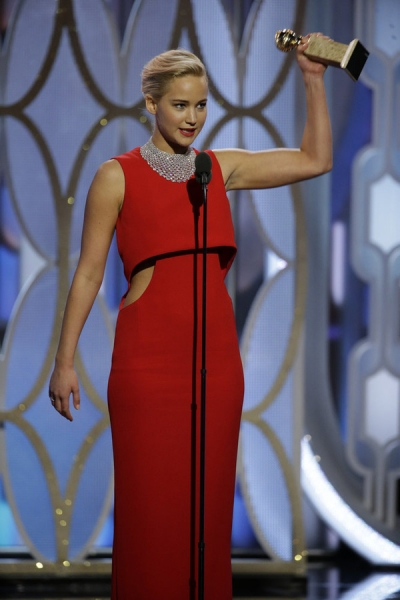 73rd ANNUAL GOLDEN GLOBE AWARDS -- Pictured: Jennifer Lawrence, ''Joy'', Winner, Best Actress - Motion Picture, Comedy at the 73rd Annual Golden Globe Awards held at the Beverly Hilton Hotel on January 10, 2016 -- (Photo by: Paul Drinkwater/NBC)