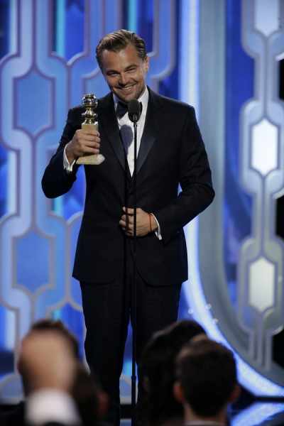 73rd ANNUAL GOLDEN GLOBE AWARDS -- Pictured: (l-r) Leonardo DiCaprio, ''The Revenant'', Winner, Best Actor - Motion Picture, Drama at the 73rd Annual Golden Globe Awards held at the Beverly Hilton Hotel on January 10, 2016 -- (Photo by: Paul Drinkwater/NB