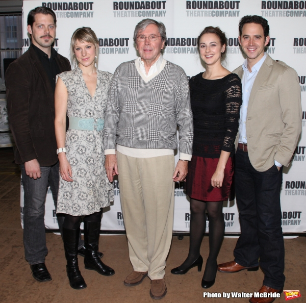 Actor David Furr, actress Charlotte Parry, actor Brian Bedford, actress Sara Topham and actor Santino Fontana.attends the Meet & Greet the cast of the Roundabout Theatre Company''s Broadway Production of ''The Importance of Being Earnest''  in New York Ci