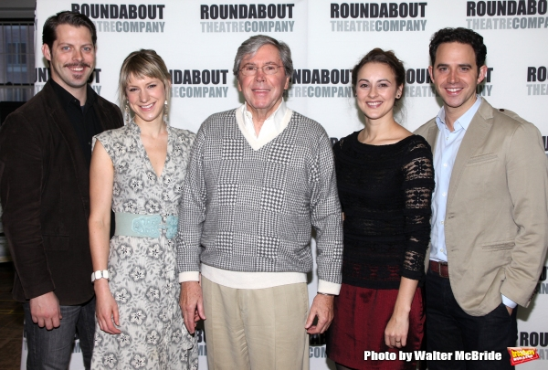 David Furr, actress Charlotte Parry, actor Brian Bedford, actress Sara Topham and actor Santino Fontana.attends the Meet & Greet the cast of the Roundabout Theatre Company''s Broadway Production of ''The Importance of Being Earnest''  in New York Ci