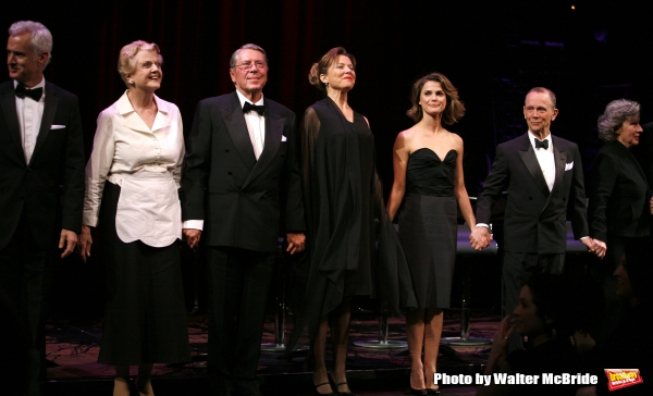 John Slattery, Angela Lansbury, Brian Bedford, Annette Bening, Keri Russell, Joel Grey & Zoe Caldwell.during the Curtain Call for The Actors Fund One Night Only Benefit of ALL ABOUT EVE at the Eugene O''Neill Theatre in New York City..November 10, 2008