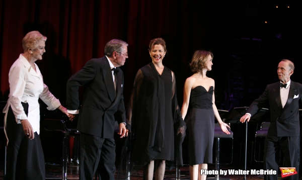 Angela Lansbury, Brian Bedford, Annette Bening, Keri Russell, Joel Grey.during the Curtain Call for The Actors Fund One Night Only Benefit of ALL ABOUT EVE at the Eugene O''Neill Theatre in New York City..November 10, 2008.