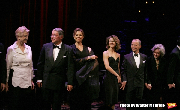 Angela Lansbury, Brian Bedford & Annette Bening.during the Curtain Call for The Actors Fund One Night Only Benefit of ALL ABOUT EVE at the Eugene O''Neill Theatre in New York City..November 10, 2008.